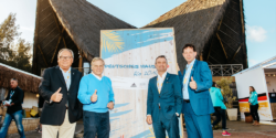 Werner Dornscheidt, Axel Achten, CEO at Deutsche Sport Marketing, Lord Mayor Thomas Geisel and City Director arriving at the German House in Rio.