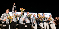 Quadruple sculls celebrate their gold medal at the German House © picture alliance