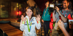 Sports markswoman Monika Karsch meets reporters at the German House after winning the silver medal © picture alliance